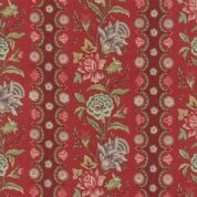 Moda - Jardin de Versailles, French General - 5894 -  Stripe Floral on Red- 13811 11 - Cotton Fabric